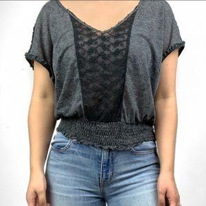 Free People Lace Ruffle Short Sleeve Blouse